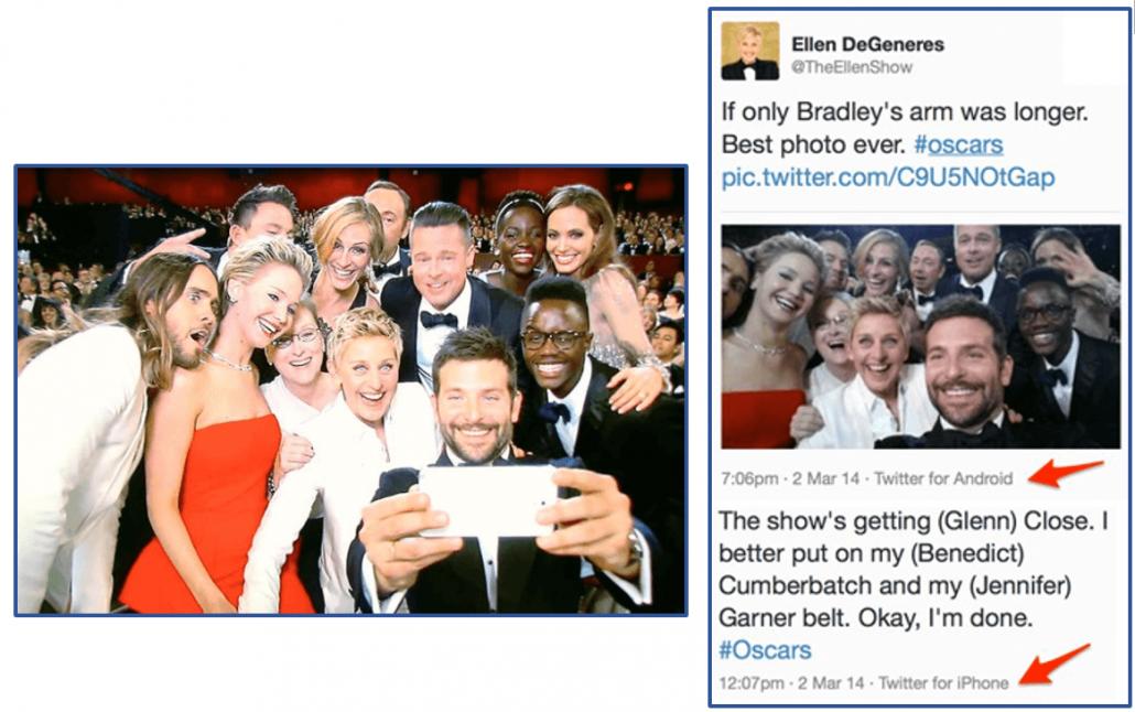 Ellen DeGeneres Samsung vs iPhone Fai