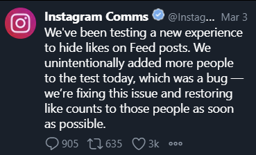 Instagram tweet about the hide likes feature