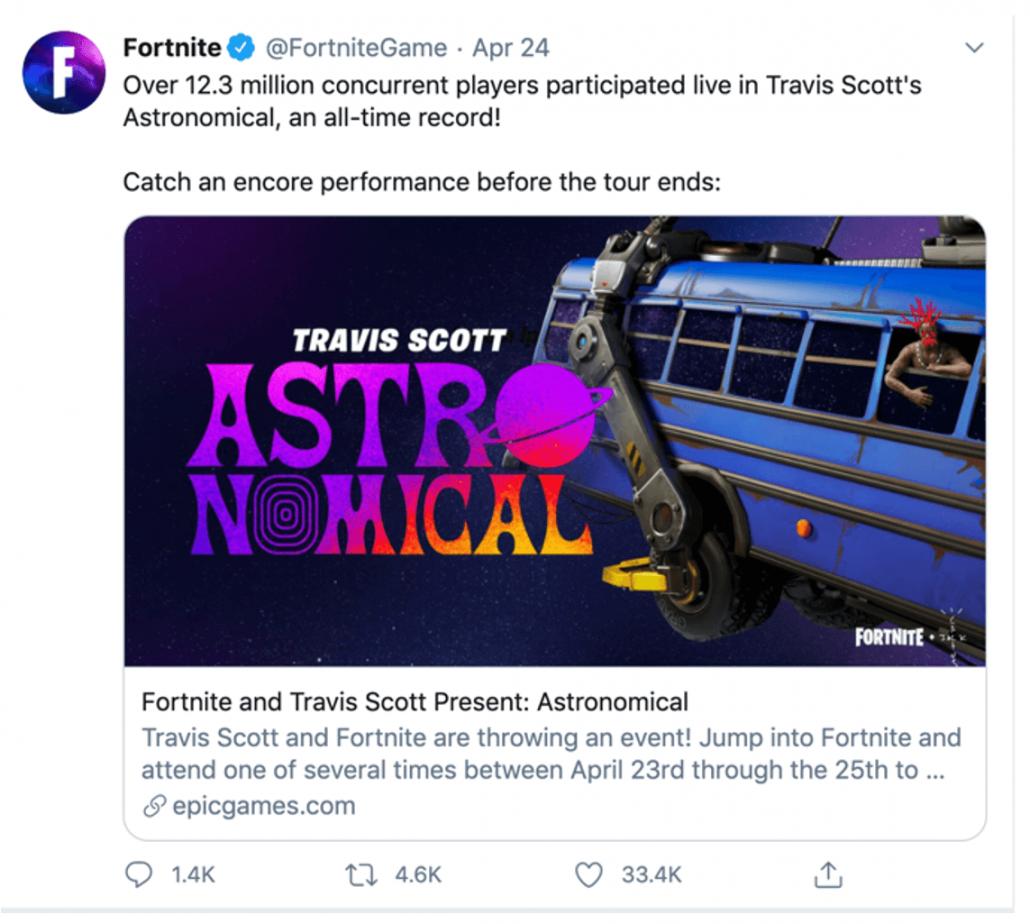 Twitter Screenshot of Fortnites Travis Scott Success - Source Twitter.com-Fortnite